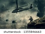 military helicopter and forces... | Shutterstock . vector #1355846663