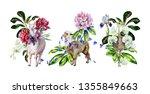 watercolor set of cartoon...   Shutterstock . vector #1355849663