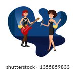 elegant female singer and rock... | Shutterstock .eps vector #1355859833