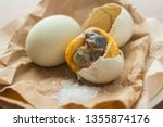 Fresh Balut or fermented duck eggs ready to serve and eat. A favorite in the Philippines and other Asian countries.