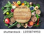 healthy food selection with... | Shutterstock . vector #1355874953