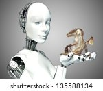 Science fiction meets Fantasy. Female android robot holding a baby dragon with a gradient background. - stock photo