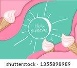 ice cream cone  background  3d  ... | Shutterstock .eps vector #1355898989