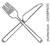 vector sketch crossed cutlery....   Shutterstock .eps vector #1355899070