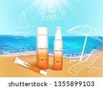 vector illustration. 3d bottles ... | Shutterstock .eps vector #1355899103