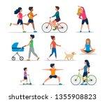 people doing various outdoor... | Shutterstock .eps vector #1355908823