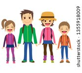 happy family with full... | Shutterstock . vector #1355918009