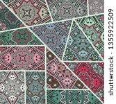 vector patchwork quilt pattern. ... | Shutterstock .eps vector #1355922509