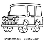 Vector illustration of cartoon car - Coloring book - stock vector