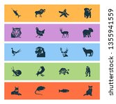 fauna icons set with chimpanzee ... | Shutterstock .eps vector #1355941559