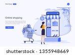 flat design concept of online... | Shutterstock .eps vector #1355948669