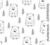 bear pattern design with pine... | Shutterstock .eps vector #1355950556
