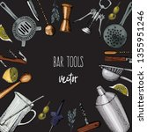 bartender equipment for making... | Shutterstock .eps vector #1355951246