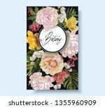 vector vintage floral frame... | Shutterstock .eps vector #1355960909