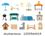 set of various gardening items. ... | Shutterstock .eps vector #1355964419