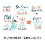 mermaid party hand drawn blue... | Shutterstock . vector #1356026489