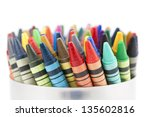 Colorful Wax Crayons Isolated...