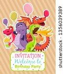 baby dragons poster  invitation ... | Shutterstock .eps vector #1356039389