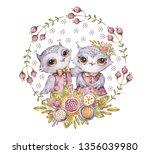 nursery two cute aquarelle owls ... | Shutterstock . vector #1356039980