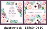 vintage wedding card with... | Shutterstock .eps vector #1356040610