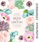 vintage wedding card with... | Shutterstock .eps vector #1356040613