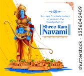 illustration of lord rama with... | Shutterstock .eps vector #1356043409