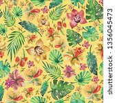 watercolor tropical flowers and ... | Shutterstock . vector #1356045473