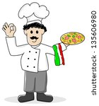 illustration of a cartoon pizza ... | Shutterstock . vector #135606980
