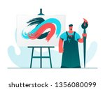 artist drawing a big picture....   Shutterstock .eps vector #1356080099