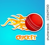 cricket ball in fire with text... | Shutterstock .eps vector #135609530