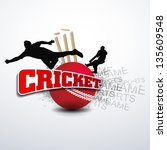 cricketers in playing action on ... | Shutterstock .eps vector #135609548