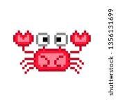 8 Bit Pixel Crab. Vector...