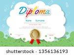 certificates kindergarten and... | Shutterstock .eps vector #1356136193