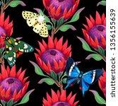 seamless pattern. protea branch.... | Shutterstock . vector #1356155639