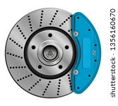 car brake disk with caliper.... | Shutterstock .eps vector #1356160670