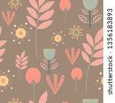 stylized flowers. berries ... | Shutterstock .eps vector #1356183893