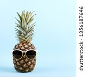 pineapple in sunglasses  the... | Shutterstock . vector #1356187646