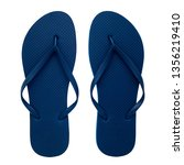 Blue rubber flip flops isolated ...