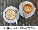 hot caramel macchiato and latte ... | Shutterstock . vector #1356224936