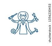 multitasking line icon concept. ... | Shutterstock .eps vector #1356230453