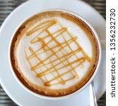 hot caramel macchiato coffee... | Shutterstock . vector #1356232730
