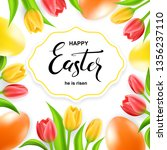 happy easter card with eggs ... | Shutterstock .eps vector #1356237110