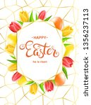 happy easter card with eggs ... | Shutterstock .eps vector #1356237113