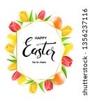 happy easter card with eggs ... | Shutterstock .eps vector #1356237116