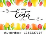 happy easter card with eggs ... | Shutterstock .eps vector #1356237119