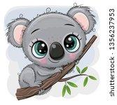 Cute Cartoon Koala Is Sitting...