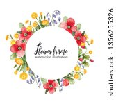 watercolor floral frame with... | Shutterstock . vector #1356255326