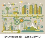 city gear info graphic elements ... | Shutterstock .eps vector #135625940