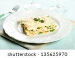 Stock photo close up italian pasta lasagna with shrimp and zucchini 135625970