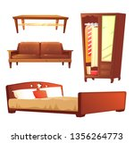 bedroom object set with leather ... | Shutterstock .eps vector #1356264773
